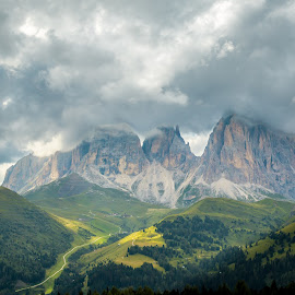by Mario Horvat - Landscapes Prairies, Meadows & Fields ( dolomites, mountains, green, nature, clouds, beauty in nature, outdoor, italia, weather, dolomiti, sassolungo, italy, landscape )