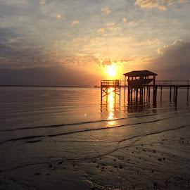 Sunrise on Charleston Harbor by Prentiss Findlay - Landscapes Sunsets & Sunrises ( sunrise on charleston harbor, break of day, harbor sunrise, sunrise, charleston harbor sunrise )