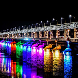 Coloured Reflection by Bhanu Sarathy - Buildings & Architecture Bridges & Suspended Structures ( colorful, reflections, night, bridges, end )