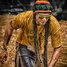 Bob M. by Marco Bertamé - Sports & Fitness Other Sports ( water, splatter, differdange, cap, dropssplash, 2015, yellow, waterdrops, soup, sunglasses, running, luxembourg, strong, drops, brown, strongmanrun, man )