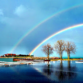 Rainbow Days by Celia Schulz-Photography - Landscapes Weather ( double rainbow, lake michigan, reefpoint brew house, rainbows, boat launch )