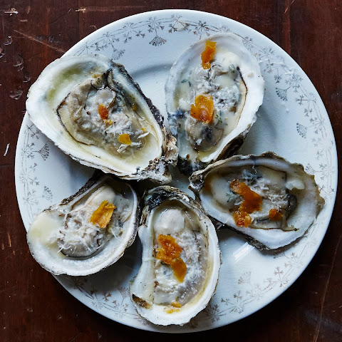 Grilled Oysters with Pecorino and Shaved Bottarga