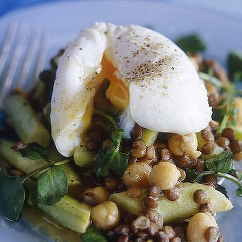 Asparagus And Lentil Salad With Poached Eggs