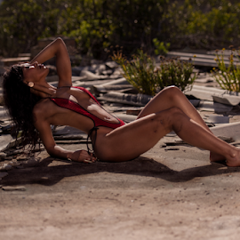 Basking in the sun by Jason Elphick - People Portraits of Women ( ruins, rural, skimpy, model, sun )