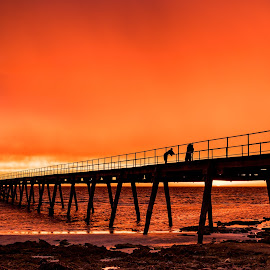 Sunset at Haslam Jetty by Brent McKee - Buildings & Architecture Bridges & Suspended Structures ( 2017, fuji x, sa, sunset, australia, sea, ocean, beach, jetty, wharf, haslam )