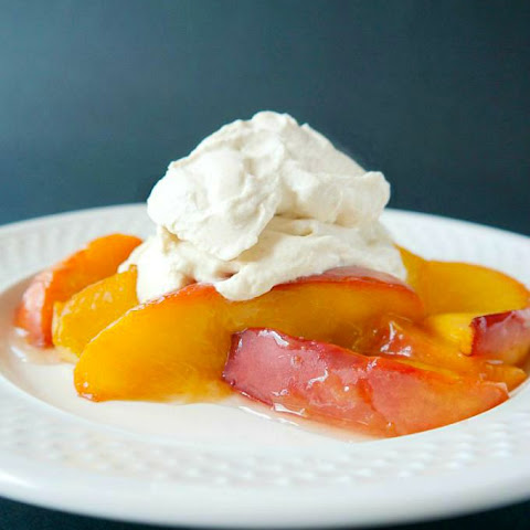 Roasted Miso Glazed Peaches with Ginger Whipped Cream