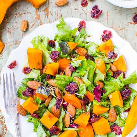 Roasted Winter Squash, Cranberry, and Almond Salad with Lemon Dijon Balsamic Vinaigrette