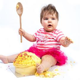 Cake Smash by Anthony Ashcroft - Babies & Children Babies ( child, studio, cake, flash, tutu, background, white, children, white background, smash, baby )