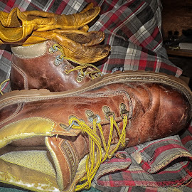 New Laces by Nick Goetz - Artistic Objects Industrial Objects ( old, work gloves, worn, lumberjack shirt, work boots, new laces )