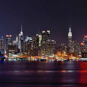 Never sleep  by Dejan Gavrilovic - City,  Street & Park  Skylines ( new york manhattan nj photodejan amazing view, , night, lights )