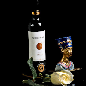 Nefertiti, bottle and rose by Cristobal Garciaferro Rubio - Artistic Objects Other Objects ( reflection, nefertiti, bottle, pwcmirror-dq )