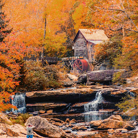Babcock State Park Old Mill by Dave Walters - Landscapes Waterscapes ( waterfall., water, mill, foliage, colors, fall, landscape, babcock state park )