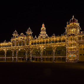 Mysore Palace by Soumyaroop  Chatterjee  - Buildings & Architecture Public & Historical ( colour, contrast, lit up, bulb, india, low light, architecture, mysore palace, palace, incandescent, black, canon 550d )