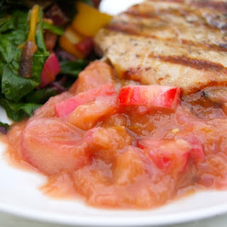 GINGERY RHUBARB COMPOTE WITH GRILLED PORK CHOPS