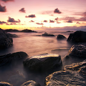 wet rocks by Luca Rosacuta - Landscapes Waterscapes ( sunset, sea, rocks )