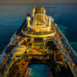Cruiseship by Joseph Law - Transportation Other ( going, cruiseship, blue sky, sea, swimming pool, above, front, view, bahamas, entertainment, north star )