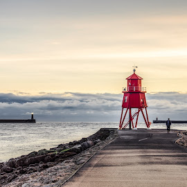 South Shields Groyne by Adam Lang - City,  Street & Park  Historic Districts ( groyne, red, south tyneside, south shields, pier )
