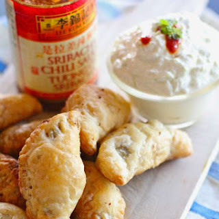 Spicy Sriracha Empanadas with Green Curry Cucumber Dipping Sauce