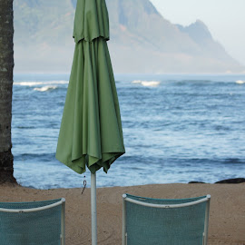 Bali Hai view by Amber O'Hara - Landscapes Beaches ( kauai, chairs, umbrella, beach, ocean view, bali hai )
