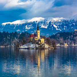 Bled Island and Alps by Arif Sarıyıldız - Landscapes Travel ( travel photography, slovenia, alps, bled island, reflections, lake bled )