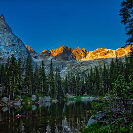Lone Eagle Peak by Steven Bathke - Landscapes Mountains & Hills ( mountains, lone eagle peak, snow, mountain peaks, lake )