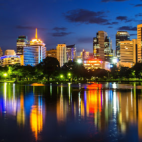 Night Light by Waraphorn Aphai - City,  Street & Park  City Parks ( night light, twilight, lumpini park, reflect )