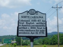 NORTH CAROLINA / Colonized, 1585-87, by first English settlers in America; permanently settled c. 1650; first to vote readiness for independence, Apr. 12, 1776 b/w GEORGIA / The colony of Georgia was ...