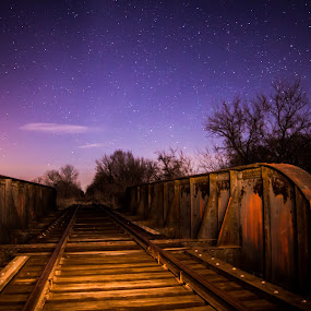 Moonlit tracks by Eric Anderson - Landscapes Starscapes ( canon, moon, railroad, stars, dark, train, night, tracks, bridge )