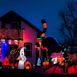 Halloween Night Panorama by Julie Wooden - Public Holidays Halloween ( jack-o-lanterns, north dakota, spooky, hebron, ghouls, black cats, night time, monsters, ghost, landscape, halloween, nature, autumn, event, outdoors, fall, witches, dark, scenery )