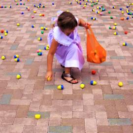 She is positioned for the Egg Hunt! by Cheryl Beaudoin - Babies & Children Children Candids ( child, girl, easter, bag, hunt, celebration, fun, egg,  )