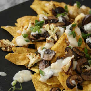 Healthy Nachos with Mushrooms, Jalapenos, and Cauliflower Queso