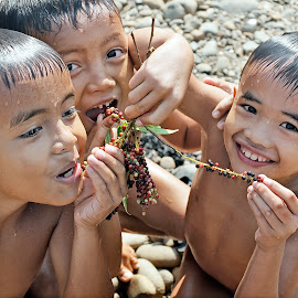 Summer Joy by Hendi Syarifuddin - Babies & Children Children Candids ( laugh, boys, wet, kids, wild berries, KidsOfSummer )
