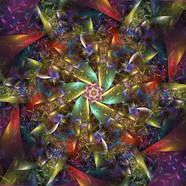 Jeweled Mandala by Peggi Wolfe - Illustration Abstract & Patterns ( abstract, wolfepaw, jewel, pattern, wheel, bright, color, illustration, fun, fractal, digital, mandala )