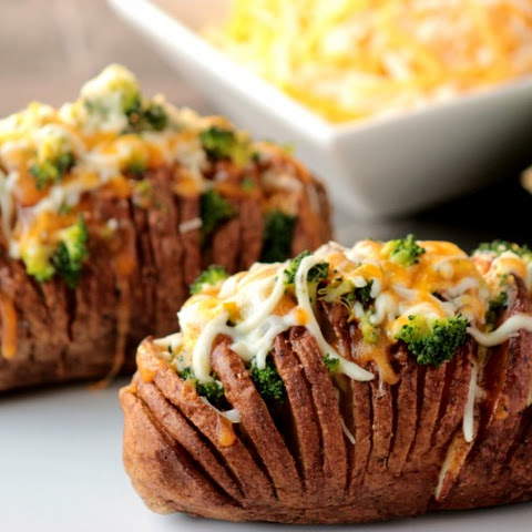Broccoli and Cheese Hasselback Potatoes