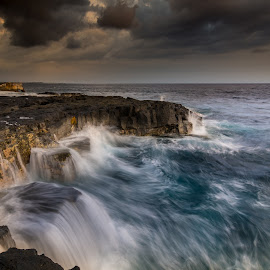 Rough Endings by Jared Goodwin - Landscapes Sunsets & Sunrises ( warm, waterscape, rock, blue water, travel, landscape, sun, contrast, sky, blue sky, sunsets, cloudy, long exposure, rocks, hawaii, clouds, water, sea, cloudscape, seascape, paradise, blue, sunset, cloud, sunrise, landscapes, slow shutter )