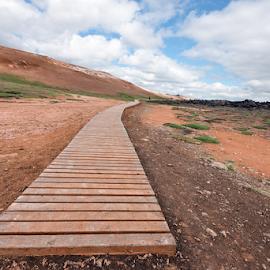The Boardwalk by Phyllis Plotkin - Landscapes Prairies, Meadows & Fields ( iceland, dirt, boardwalk, fields )