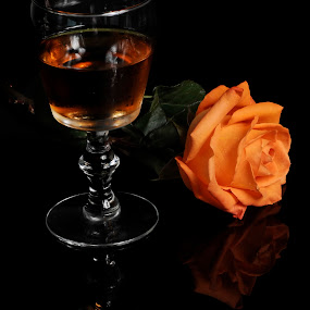 Wine and Rose by Cristobal Garciaferro Rubio - Food & Drink Alcohol & Drinks ( cup, wine, rose, glass, flower )