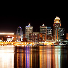 Tall Towering Reflections by Kevin Pennington - City,  Street & Park  Skylines ( yum center, reflection, louisville, buildings, night, architecture, downtown, city, river,  )