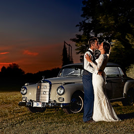 Last night's kiss by Joseph Humphries - Wedding Bride & Groom ( car, love, sunset, wedding, marriage, bride, groom, sun )