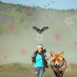 My lil girl wit her wolf by Harry Patriantono - Digital Art People
