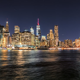 Manhattan Nighttime Skyline by Carol Ward - City,  Street & Park  Skylines ( skyline, manhattan, nyc, nightime skyline, night shoot, brooklyn )
