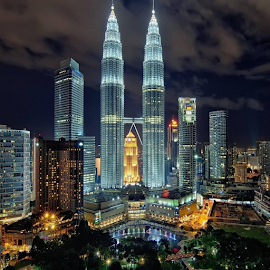night view of KLCC by En Miezter - City,  Street & Park  Night