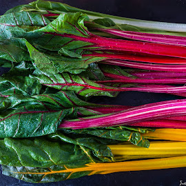 Chard by Justin Saunders - Food & Drink Fruits & Vegetables ( colour, red, nature, fresh, fiveaday, green, food, chard, vegetables, healthy, good, yellow, vitamin )