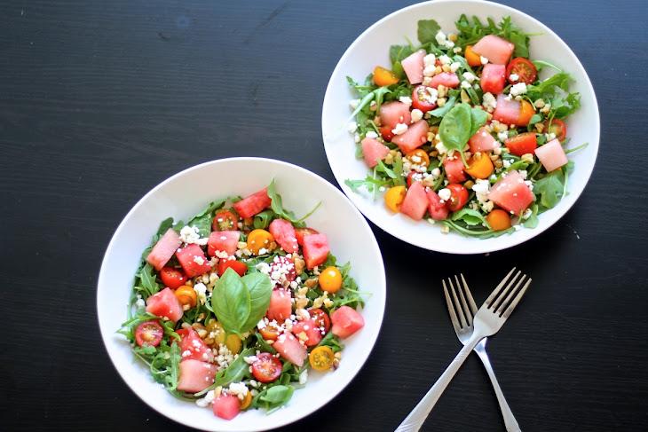 Watermelon, Heirloom Tomato & Feta Arugula Salad Recipe   Yummly
