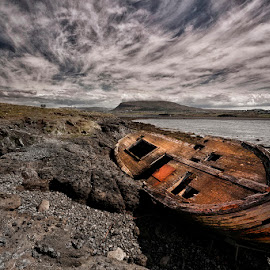 Deck of Wreck  by Þorsteinn H. Ingibergsson - Transportation Boats ( clouds, iceland, sky, nature, wreck, structor, boat, landscape, abandoned )