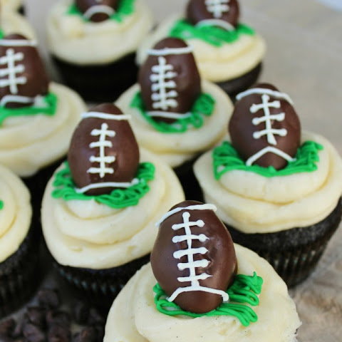 Chocolate Cupcakes with Football Cake Pop Toppers