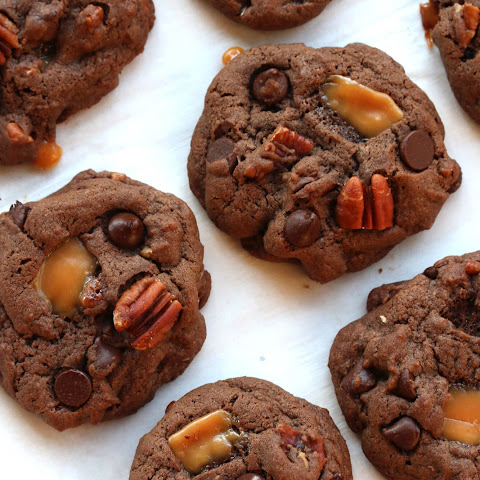 Mexican Chocolate Caramel Pecan Cookies (Turtle Cookies)