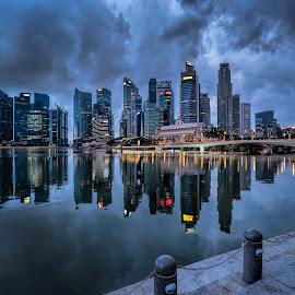 by Gordon Koh - City,  Street & Park  Vistas ( shenton way, clouds, fullerton, skyline, blue hour riverfront, travel, cityscape, singapore, city )