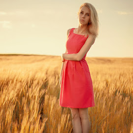 *** by Anton Shvain - People Portraits of Women ( field, red, russia, girl, female, sunset, woman, sunlight, portrait )