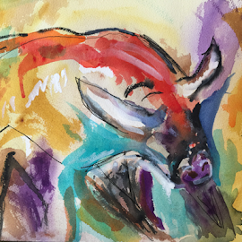 The Bull by Jeanne Knoch - Painting All Painting